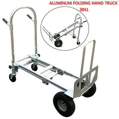 3 In 1 Convertible Aluminum Hand Truck Dolly 350kg Folding Multifunction Cart