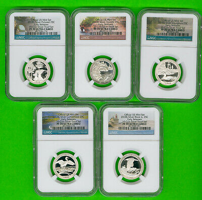 2018 S-10 Silver Atb 25C-5-Proof Set + 5-Reverse Proof Set-All10-Er-Ngc-Pf-70