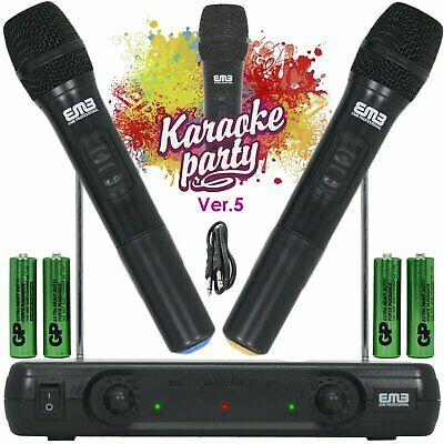 Wireless Microphone Dual Handheld 2 x Mic Cordless Receiver for Church / Karaoke
