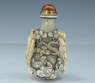 Chinese Exquisite Handmade landscape people Carving Glass snuff bottle
