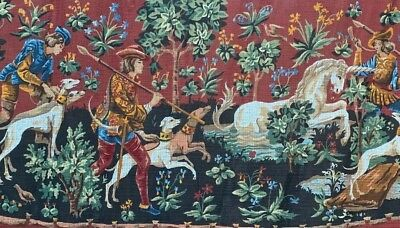 SEG De Paris Needlepoint Tapestry Canvas 21x40.5 Inches Unicorn Hunt Dogs Forest