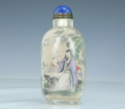 Chinese Exquisite Handmade Inside painting character Poetry Glass snuff bottle