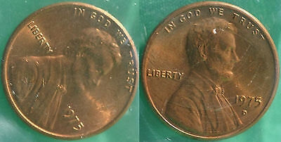 1975 P and D Lincoln Cent 2-Coin from US Mint Set UNC Cello One Cent Penny Set
