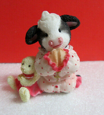 Mary's Moo Moos Jesus Loves Moo Girl Kneeling Praying with Doll Cow Figurine