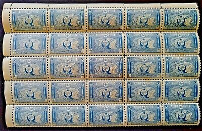 TURKEY - 1917/18, BLOCK OF 25 STAMPS. 50p Blue - (Map of Gallipoli) MINT N.H.!!