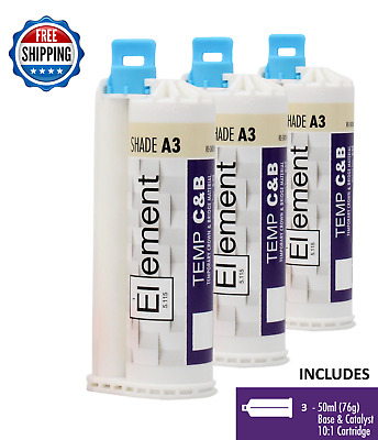 (3) ELEMENT Temporary Crown and Bridge Material Cartridges Dental SHADE A3