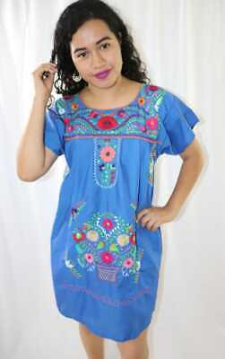 Womens Handmade Embroidered Mexican Dress Blue Medium Peasant Bohemian Fiesta