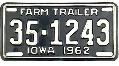 1962 Iowa FARM TRAILER License Plate Franklin County #1243 No Reserve