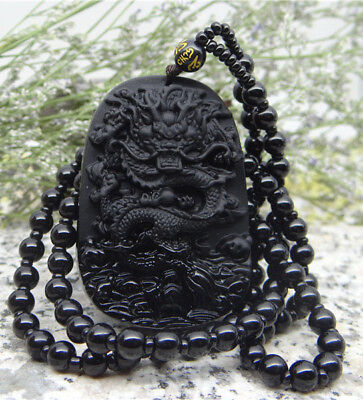 Natural Obsidian Hand Carved Lucky Dragon Blessing Beads Pendant Necklace