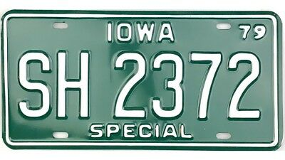 NOS UNISSUED 1979 Iowa SPECIAL License Plate #SH2372 No Reserve