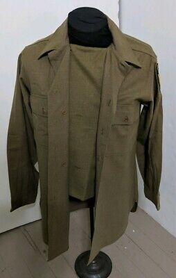 WWII US Army Wool OD-33 Enlisted Shirt Special 13th Airborne Named Beckman