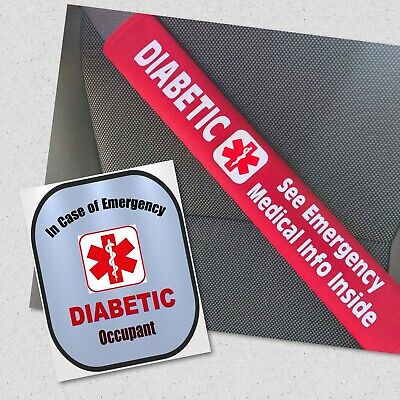 Diabetic Seat Belt Cover and Window Decal Type 2 Diabetes Safety Set