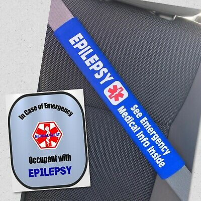 Epilepsy Seat Belt Cover and Window Decal Safety Set