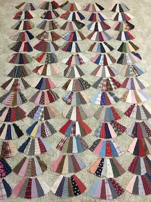 Lot of 70 vintage antique Hand Stitched quilt top Fan block pieces Feedsack