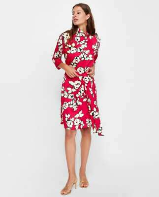 eded16b2 New Zara Red Floral Midi Dress Tied Belt Siz Small High Collar Long Sleeve  SS18