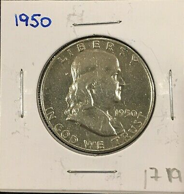 1950  Franklin Half Dollar 90% Silver - Circulated Exact Coin is Shown