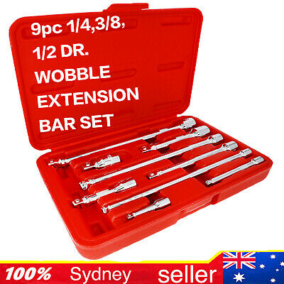 """9PC Cr-V Wobble Extension Bar Set 1/4"""" 3/8"""" 1/2"""" Dr. High Quality Made in Taiwan"""