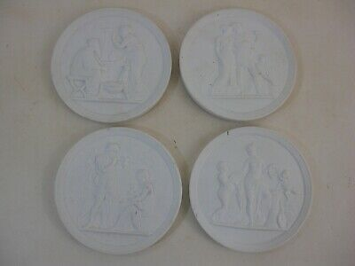 Set 4 Parian Roman Greek Bas Relief Plaques -VERY detailed and exquisite pieces