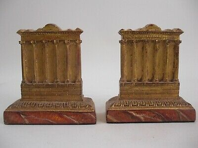 Roman Column Gold Gilt Forum Bookends Italy French Grand Tour Palladio Style