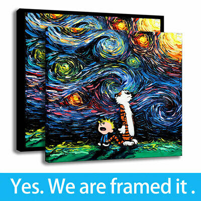BEDROOM DECOR MODERN Canvas Art Calvin and Hobbes Print Painting Van Gogh  Framed