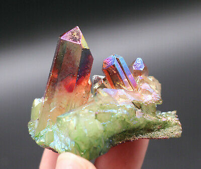 63g Aura Quartz Crystal Titanium Bismuth Silicon Cluster Rainbows