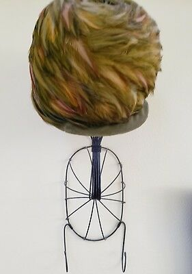 Vintage Feather Hat with Rustic Wire Wall Mount Display