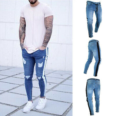 Mens Slim Fit Striped Trousers Biker Destroyed Skinny Pant Jeans Stretchy Jogger