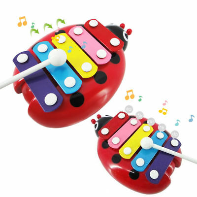 BEETLE XYLOPHONE 5-Note Red Musical Toy Baby Kids Child Development Wisdom Cute