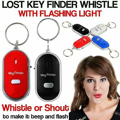 Lost Key Finder Whistle Flashing Beeping Locator Remote chain LED Sonic torch UK