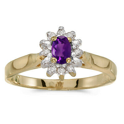 Jewelry & Watches 14k Gelbgold Diamant Und Oval Amethyst-ring Fine Jewelry