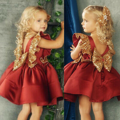 AU Toddler Kid Baby Girls Sequins Pageant Party Princess Bridesmaid Formal Dress