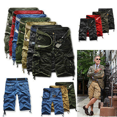 Men Army Cargo Combat Camo Camouflage Overall Shorts Sports Pants Without Belt