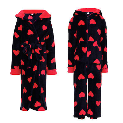 Girls Heart Fleece Nightwear Kids Hooded All In One Sleepsuit Dressing Gown Robe