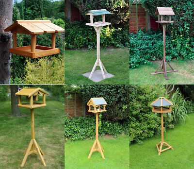 Wild Bird House Table Traditional Deluxe Feeding Station Wooden Free Standing