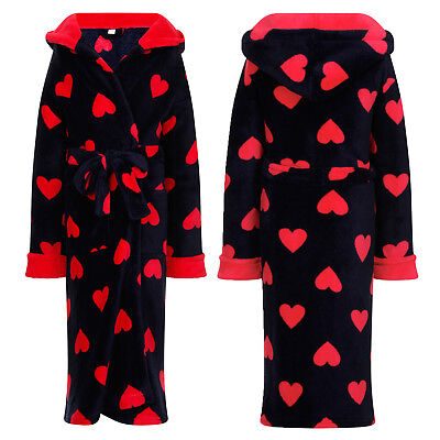Nifty Kids Hooded Heart Dressing Gown Girls Soft Fleece Bath Robe Loungewear