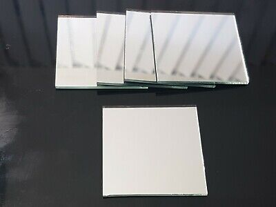 10 pieces, Silver Glass Mirror Tiles, 3 x 3 cm, 2 mm thick. Art&Craft,