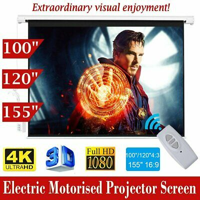 "100"" 120"" 155"" HD Projector Screen Portable Electric Motorised TV Projection 3D"