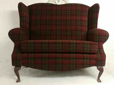 Wing Back Red Lana Tartan Queen Ann Cottage 2 Seat Sofa Love Seat
