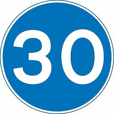 Minimum speed Road safety sign - 30 mph- 3mm Aluminium sign fitted with 2 strips