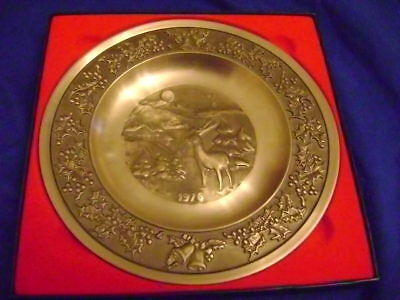 Mastad  Pewter Norway Christmas Plate 18cm in Box 1976yrs