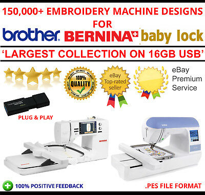 150,000+ Pes Machine Embroidery Designs Brother Bernina Baby Lock On 16Gb Usb