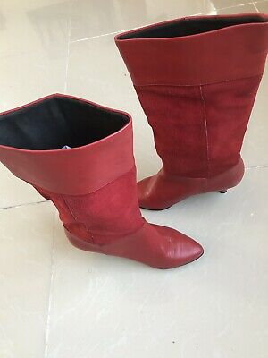 b270c23e71 LADIES RED SUEDE Moshulu Boots, Size 37/4 - £40.00 | PicClick UK