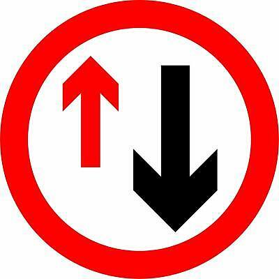 Give priority to vehicles from opposite direction Road safety sign