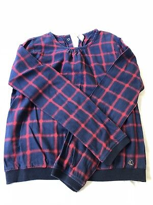 Petit Bateau Navy and Red Plaid Girls Shirt in Excellent used condition
