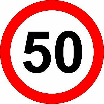 50 Mph road safety sign