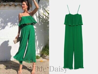 72fcd2fe Zara New Pleated Jumpsuit With Straps Long Green Flowing Ruffle Smart Size  Xs-Xl
