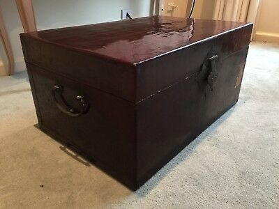 Antique Chinese Lacquer Wood Chest Storage Box w.Rustic Brass Handles & Fittings