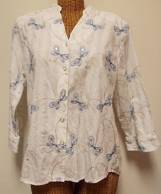 79dbc9d34ff Alfred Dunner Womens Size 16 Butterfly Embroidered Shirt Button Down