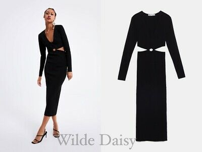 88f0992e Zara New Long Knit Dress With Cut Outs Black Sleeves Fitted Maxi Midi Size  S/