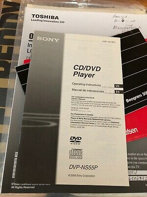 Mint Sony DVP-NS55P CD/DVD Player Owner's Manual